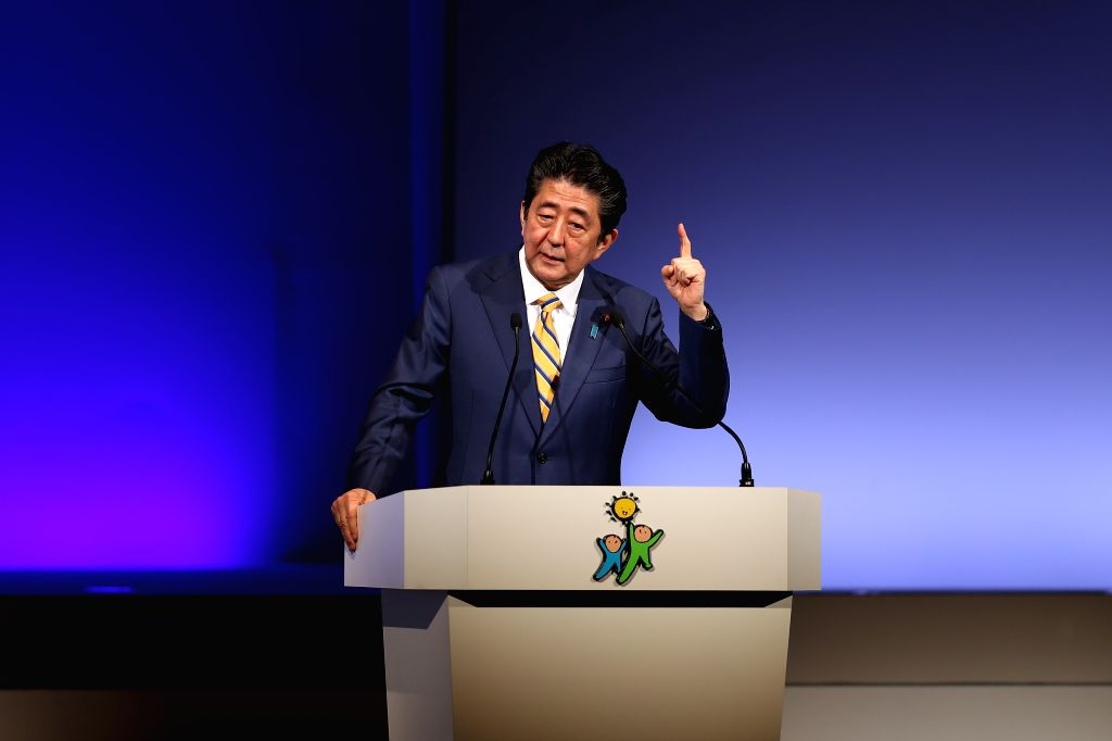 TOKYO, Feb. 10, 2019 - Japanese Prime Minister Shinzo Abe delivers a speech during the annual convention of the ruling Liberal Democratic Party (LDP) in Tokyo, Japan, Feb. 10, 2019. The LDP held its ... - Shinzo Abe