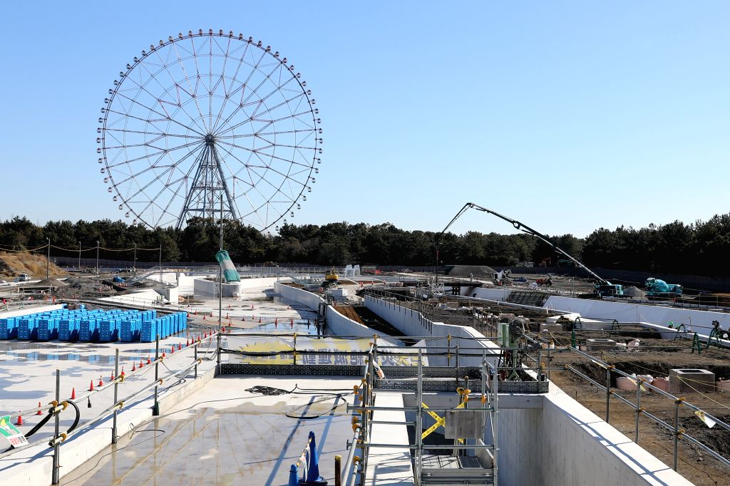 TOKYO, Feb. 12, 2019 - Kasai Canoe Slalom Centre, one of the Tokyo 2020 Olympic Games venues, is under construction in Tokyo, Japan, on Feb. 12, 2019. This venue for canoe slalom games has been ...