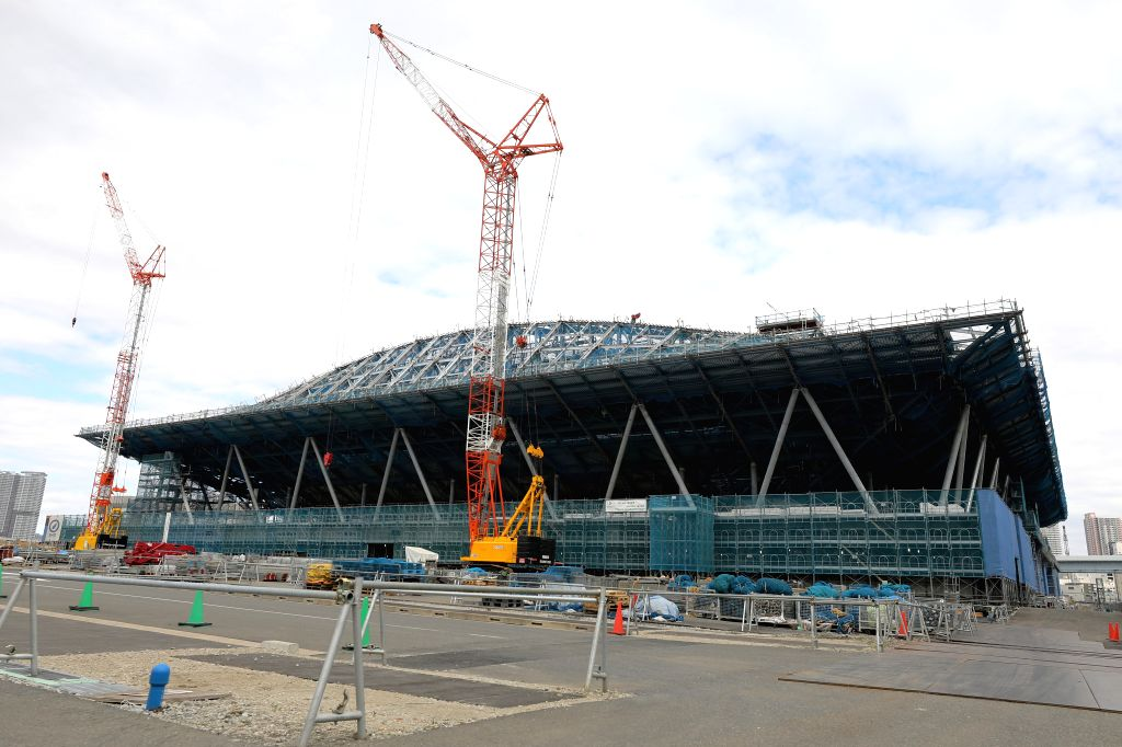 TOKYO, Feb. 12, 2019 (Xinhua) -- Ariake Gymnastics Centre, one of the Tokyo 2020 Olympic Games venues, is under construction in Tokyo, Japan, on Feb. 12, 2019. This venue for gymnastics games has been finished 62% construction works till the end of l