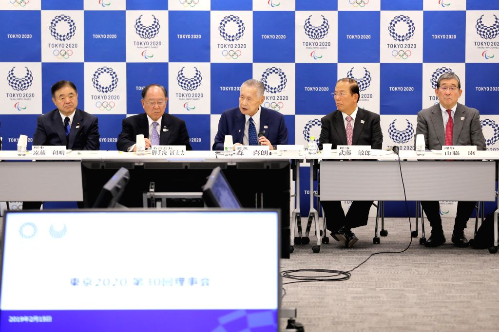 TOKYO, Feb. 15, 2019 - President of the Tokyo 2020 Organizing Committee Yoshiro Mori (C) gives a speech during the 30th executive board meeting held by Tokyo Organizing Committee of the Olympic and ...