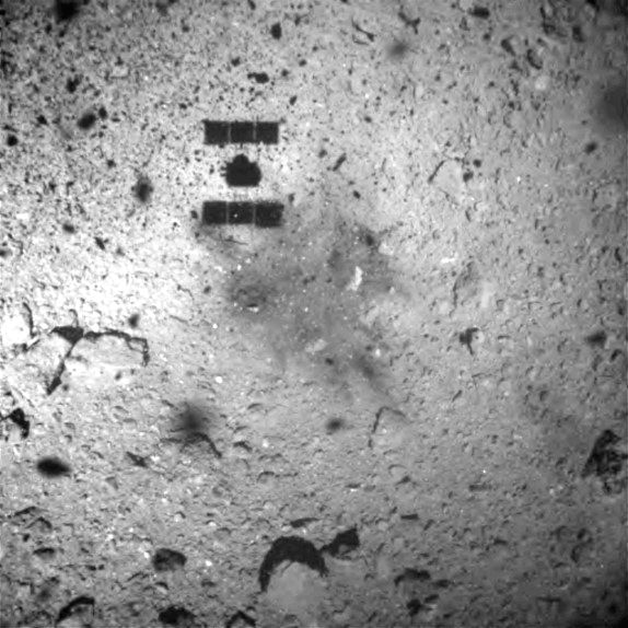 TOKYO, Feb. 22, 2019 (Xinhua) -- Photo taken by Hayabusa2 shows the scene of Ryugu asteroid after the space probe landed and collected samples from Ryugu's surface. Japan's Hayabusa2 space probe successfully landed on the asteroid Ryugu, data from th
