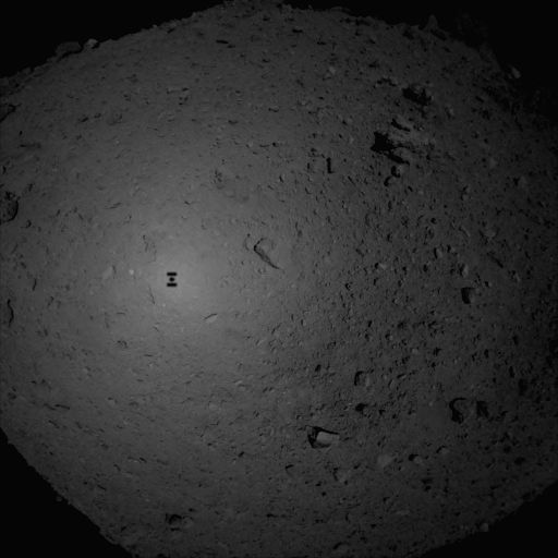 TOKYO, Feb. 22, 2019 (Xinhua) -- Photo taken by Hayabusa2 shows the scene of Ryugu asteroid before the space probe landed. Japan's Hayabusa2 space probe successfully landed on the asteroid Ryugu, data from the Japan Aerospace Exploration Agency (JAXA
