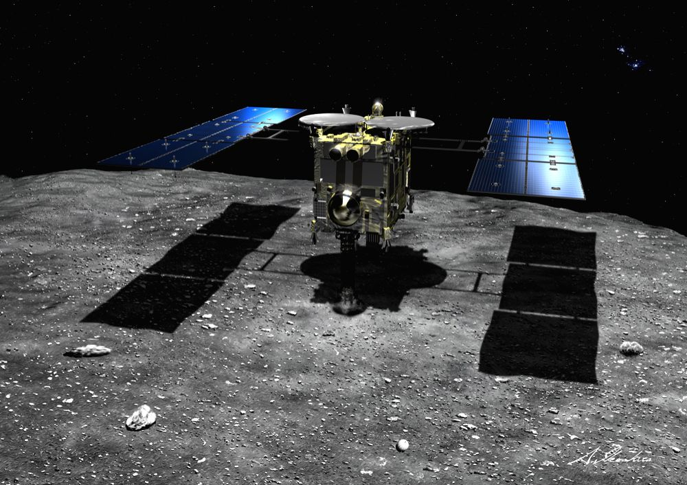 TOKYO, Feb. 22, 2019 (Xinhua) -- Simulated picture shows Hayabusa2 touching down on the asteroid Ryugu. Japan's Hayabusa2 space probe successfully landed on the asteroid Ryugu, data from the Japan Aerospace Exploration Agency (JAXA) confirmed Friday.