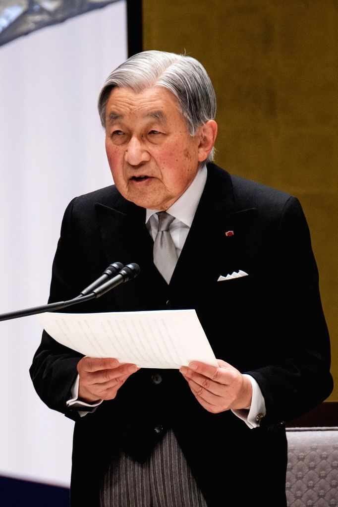 TOKYO, Feb. 24, 2019 - Japanese Emperor Akihito delivers a speech during the ceremony to mark the 30th anniversary of emperor's enthronement in Tokyo, Japan,   Feb. 24, 2019.