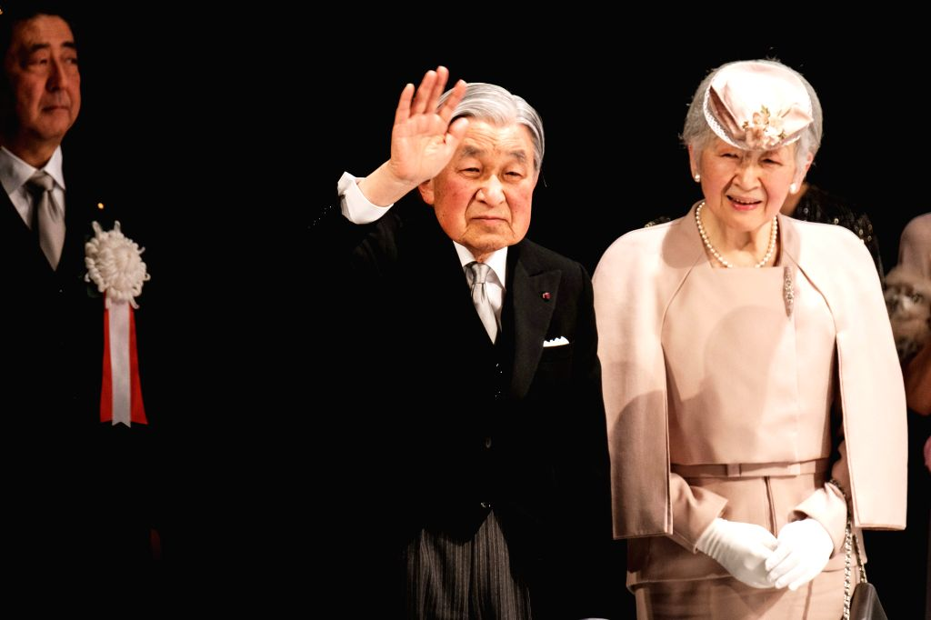 TOKYO, Feb. 24, 2019 - Japanese Emperor Akihito (C) and Empress Michiko (R) attend the ceremony to mark the 30th anniversary of emperor's enthronement in Tokyo, Japan, Feb. 24, 2019.