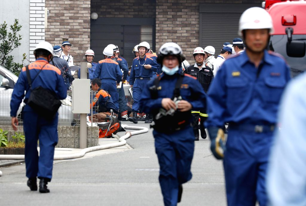 TOKYO, July 18, 2019 - Firefighters are seen at the scene of the anime studio blaze in Kyoto, Japan, July 18, 2019. The death toll of an anime studio blaze in Kyoto, Japan, on Thursday has risen to ...