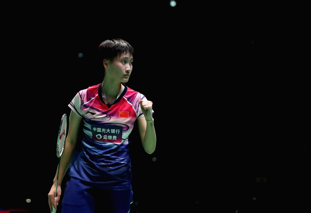 TOKYO, July 26, 2019 - Chen Yufei of China celebrates during the women's singles quarterfinals match against Busanan Ongbamrungphan of Thailand at the Japan Open 2019 badminton tournament in Tokyo, ...