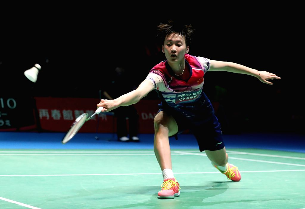 TOKYO, July 26, 2019 - Chen Yufei of China competes during the women's singles quarterfinals match against Busanan Ongbamrungphan of Thailand at the Japan Open 2019 badminton tournament in Tokyo, ...