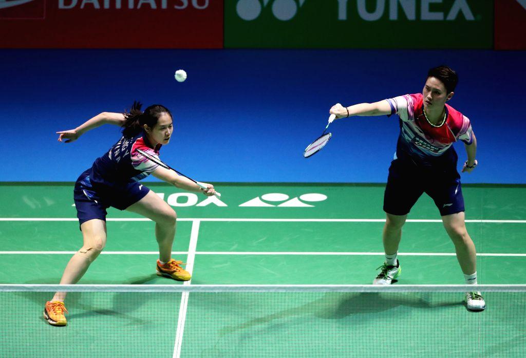 TOKYO, July 26, 2019 - Li Wenmei(R)/Zheng Yu of China competes during the women's doubles quarterfinals between Li Wenmei/Zheng Yu of China and Yuki Fukushima/Sayaka Hirota of Japan at the Japan Open ...