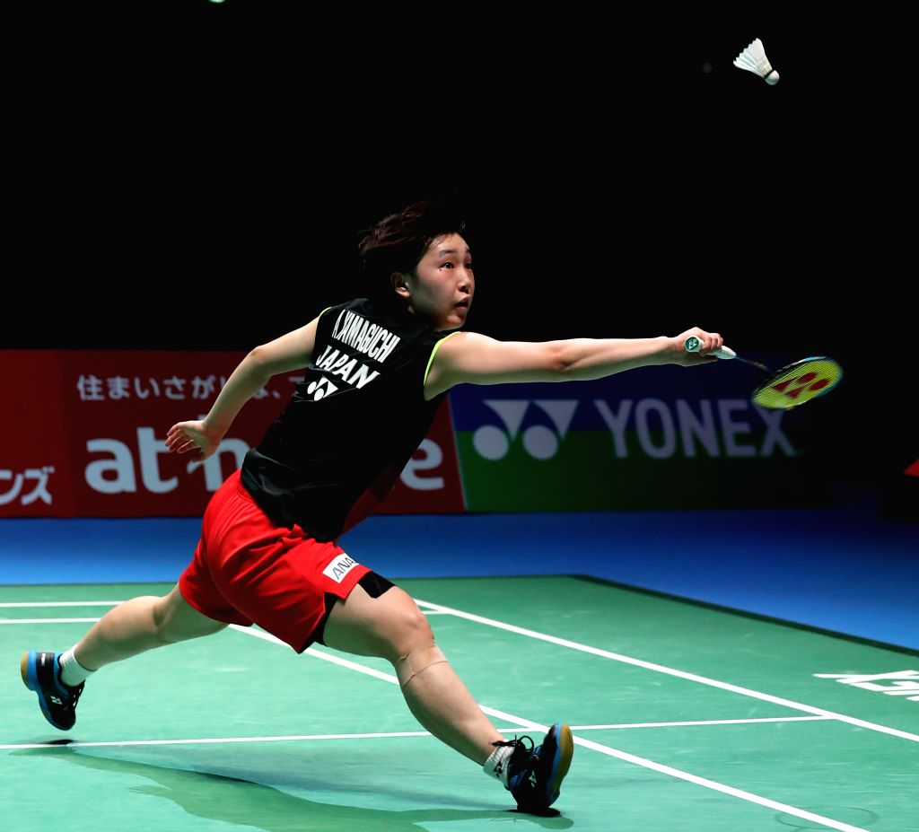 TOKYO, July 27, 2019 - Akane Yamaguchi of Japan hits a return during the women's singles semifinal against Chen Yufei of China at Japan Open 2019 badminton tournament in Tokyo, Japan on July 27, ...
