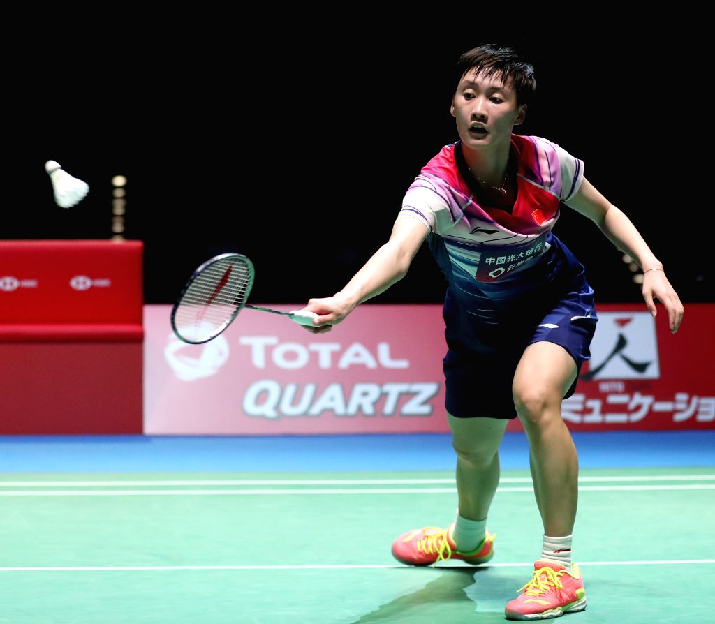 TOKYO, July 27, 2019 - Chen Yufei of China hits a return during the women's singles semifinal against Akane Yamaguchi of Japan at Japan Open 2019 badminton tournament in Tokyo, Japan on July 27, ...