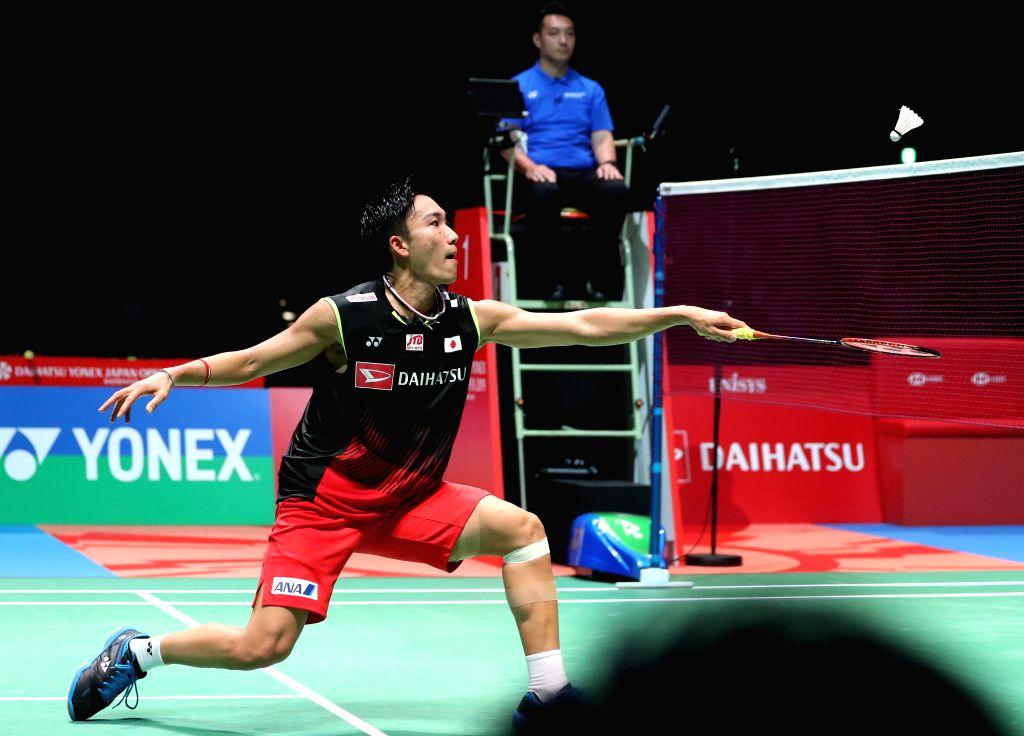 TOKYO, July 27, 2019 - Kento Momota of Japan competes during the men's singles semifinal against Sai Praneeth B. of India at Japan Open 2019 badminton tournament in Tokyo, Japan, July 27, 2019. Kento ...