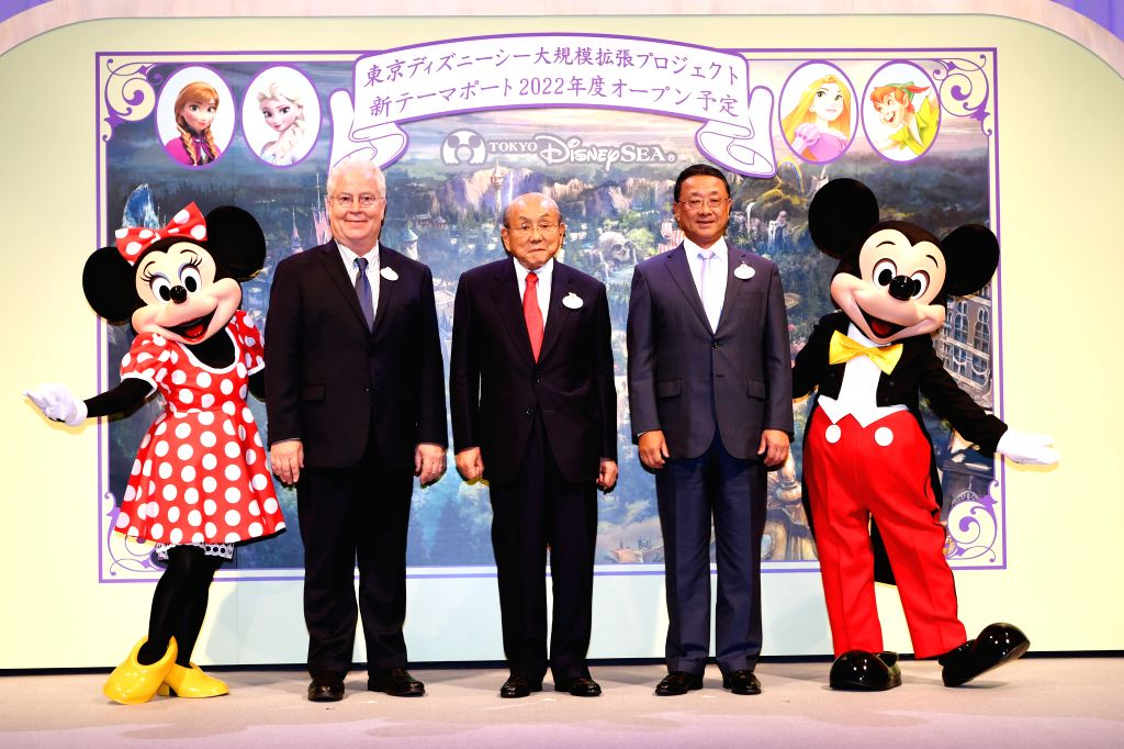 TOKYO, June 14, 2018 - Disney characters Mickey and Minnie Mouse posing with guests while attending the news conference in Tokyo, Japan, on June 14, 2018. Disney Resort operator Oriental Land Co. ...