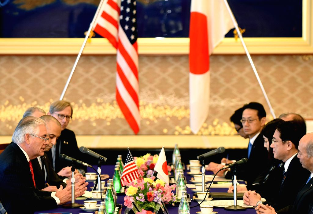 TOKYO, March 16, 2017 - Japanese Foreign Minister Fumio Kishida (2nd R) meets with U.S. Secretary of State Rex Tillerson (1st L) at the Iikura Guesthouse in Tokyo, Japan, March 16, 2017. - Fumio Kishida