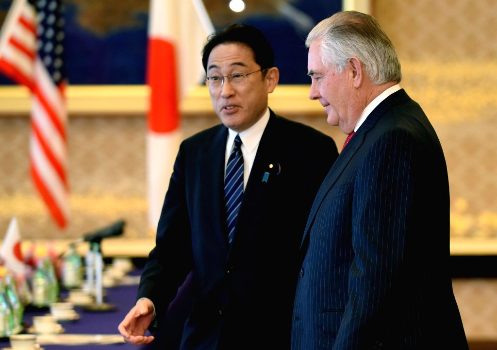 TOKYO, March 16, 2017 - Japanese Foreign Minister Fumio Kishida (L) meets with U.S. Secretary of State Rex Tillerson at the Iikura Guesthouse in Tokyo, Japan, March 16, 2017. - Fumio Kishida