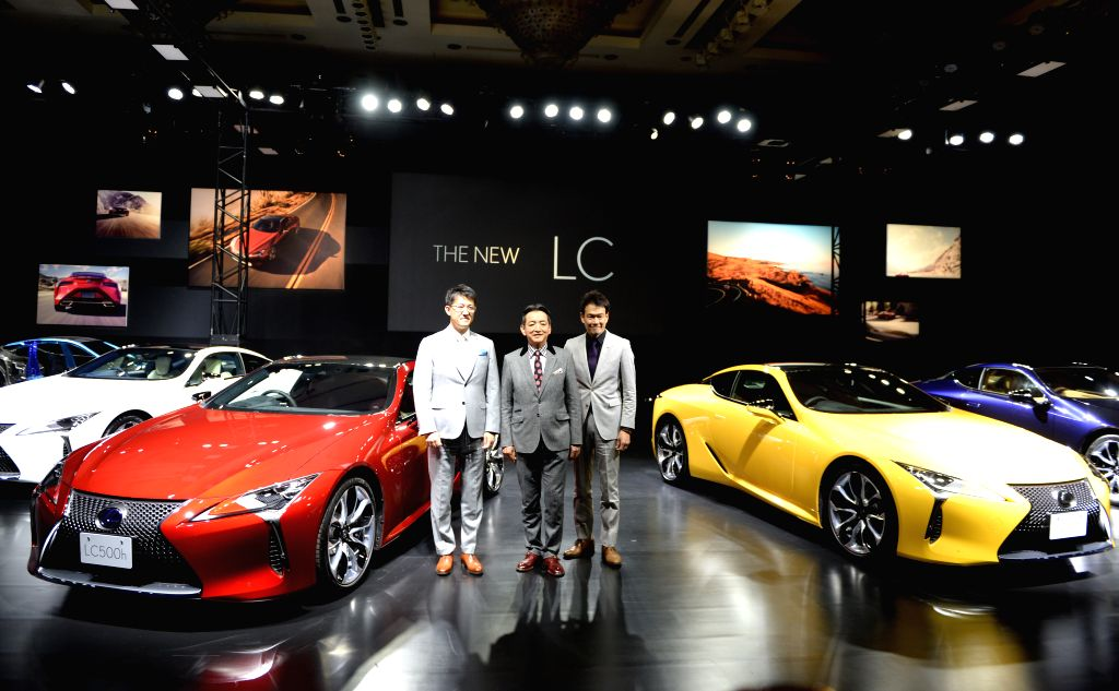 TOKYO, March 16, 2017 - Lexus International President Tokuo Fukuichi (L), Chief Engineer Koji Sato (C) and Project Chief Designer Tadao Mori (R) attend a press conference of the new Lexus LC500 in ...