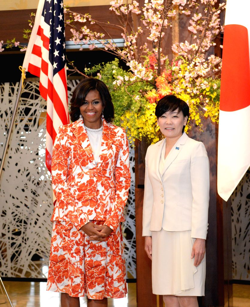 Japan's first lady Akie Abe (R) meets with U.S. first lady Michelle Obama in Tokyo, Japan, March 19, 2015. U.S. first lady Michelle Obama stressed collaboration with ...
