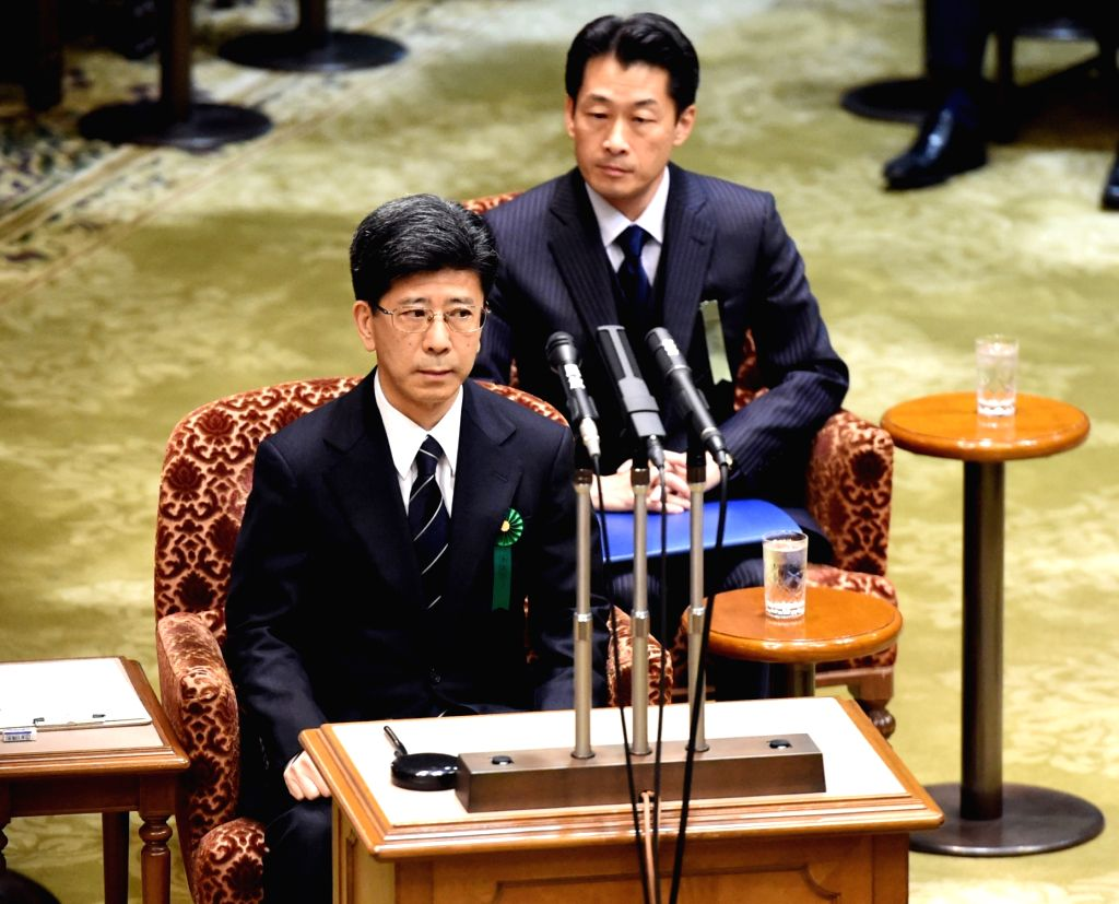 TOKYO, March 27, 2018 - Former head of the National Tax Agency Nobuhisa Sagawa (front) appears as a sworn witness in the Diet, Japan's bicameral legislature, in Tokyo, Japan, March 27, 2018. A key ...