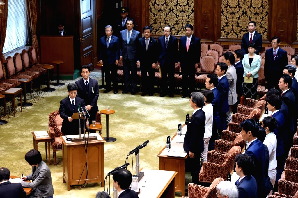 TOKYO, March 27, 2018 - Former head of the National Tax Agency Nobuhisa Sagawa (C L) appears as a sworn witness in the Diet, Japan's bicameral legislature, in Tokyo, Japan, March 27, 2018. A key ...