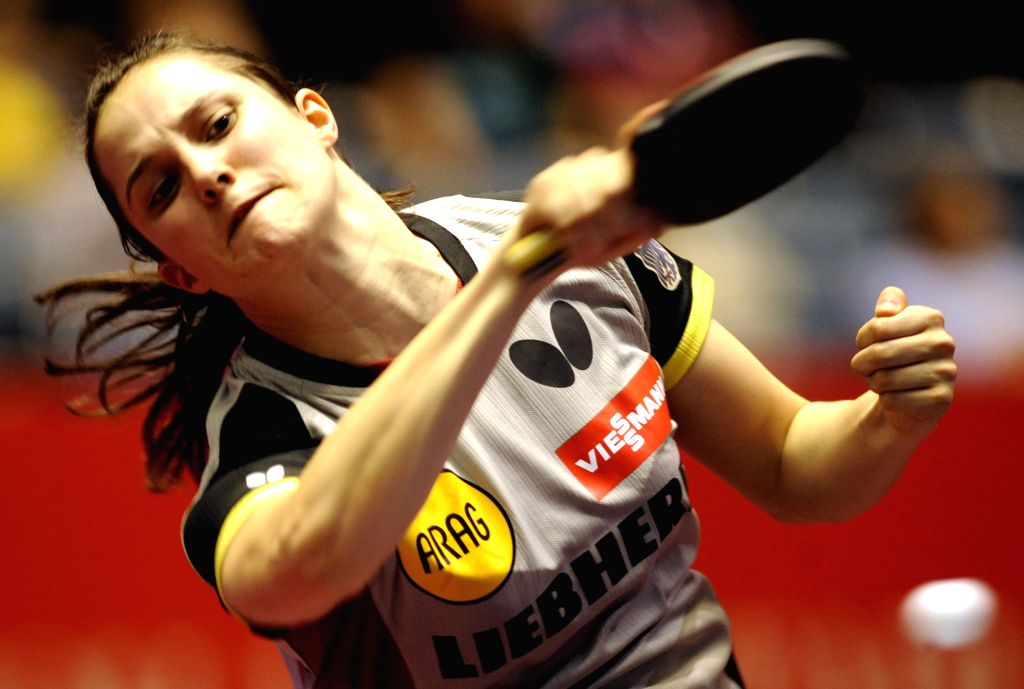 Winter Sabine of Germany plays against Andrea Todorovic of Serbia during the single's match in Zen Noh 2014 World Table Tennis Championships in Tokyo, Japan, May 1, ...