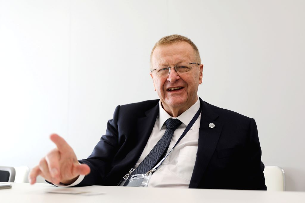 TOKYO, May 28, 2019 - John Coates, chairman of the Coordination Commission of the International Olympic Committee (IOC),  answers questions during an exclusive interview with Xinhua in Tokyo, Japan, ...