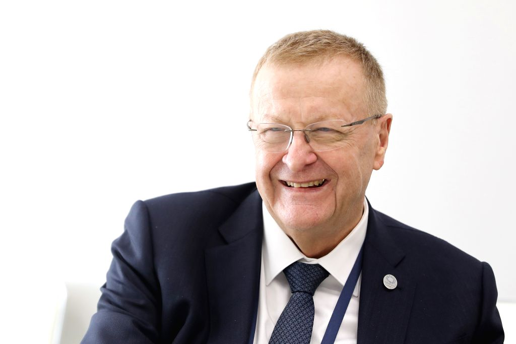 TOKYO, May 28, 2019 - John Coates, chairman of the Coordination Commission of the International Olympic Committee (IOC),  smiles during an exclusive interview with Xinhua in Tokyo, Japan, on May 22, ...