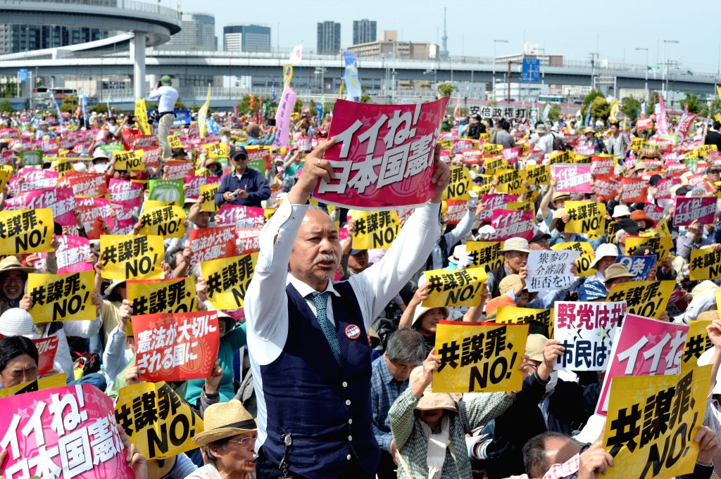TOKYO, May 3, 2017 - Citizens attend a protest against Japanese Prime Minister Shinzo Abe's attempts to amend the nation's pacifist Constitution in Tokyo, Japan, on May 3, 2017. Some 55,000 people ... - Shinzo A