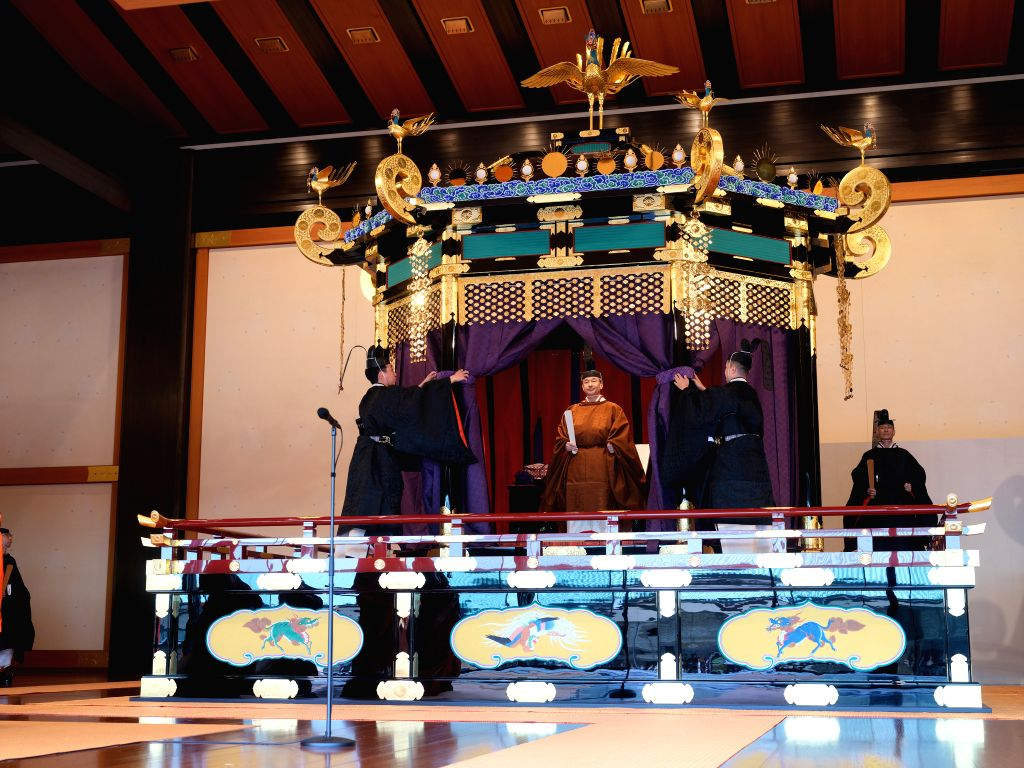 TOKYO, Oct. 22, 2019 - Japanese Emperor Naruhito attends his coronation ceremony in the Seiden State Hall at the Imperial Palace in Tokyo, Japan, Oct. 22, 2019. Japanese Emperor Naruhito on Tuesday ...