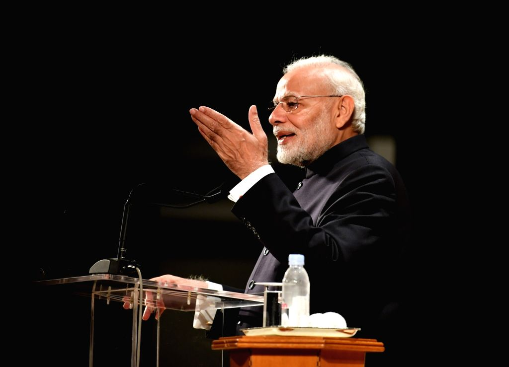 : Tokyo: Prime Minister Narendra Modi addresses the Indian community in Tokyo, Japan, on Oct 29, 2018. (Photo: IANS/PIB).