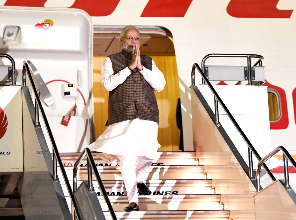: Tokyo: Prime Minister Narendra Modi arrives at Haneda International Airport, to attend the India-Japan Annual Summit, in Tokyo, Japan on Oct 27, 2018. (Photo: IANS/PIB).