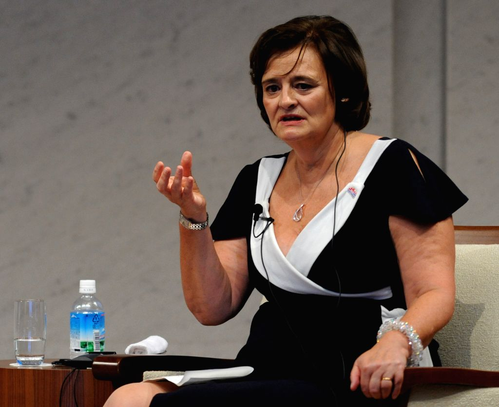 Cherie Blair, wife of former British Prime Minister Tony Blair, has a special talk session with Akie Abe (not seen), wife of Japanese Prime Minister Shizo Abe,  ... - Tony Blair