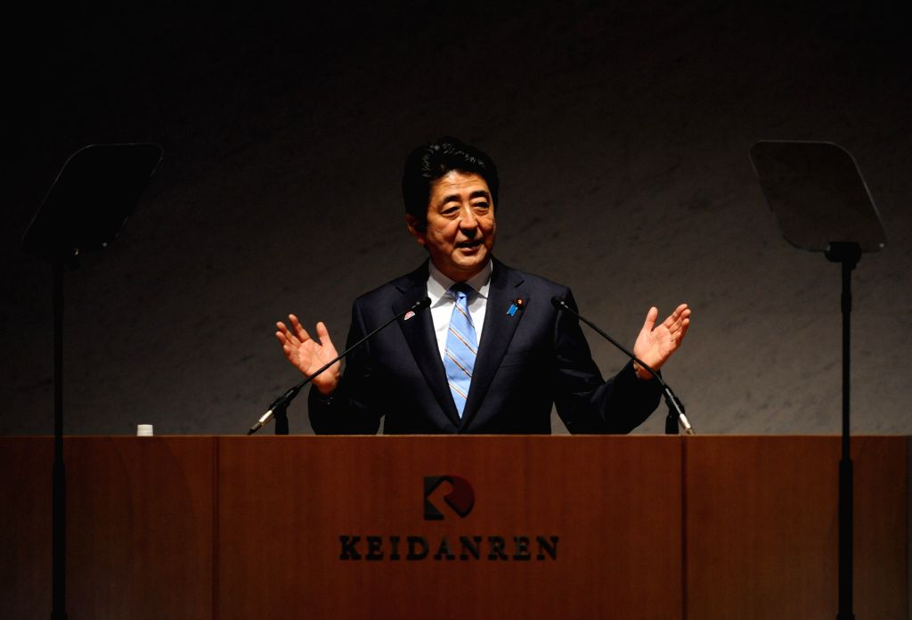 "Japanese Prime Minister Shizo Abe gives a speech during the opening forum of the ""World Assembly for Women in Tokyo"", or ""WAW! Tokyo"", in Tokyo .. - Shizo Abe"