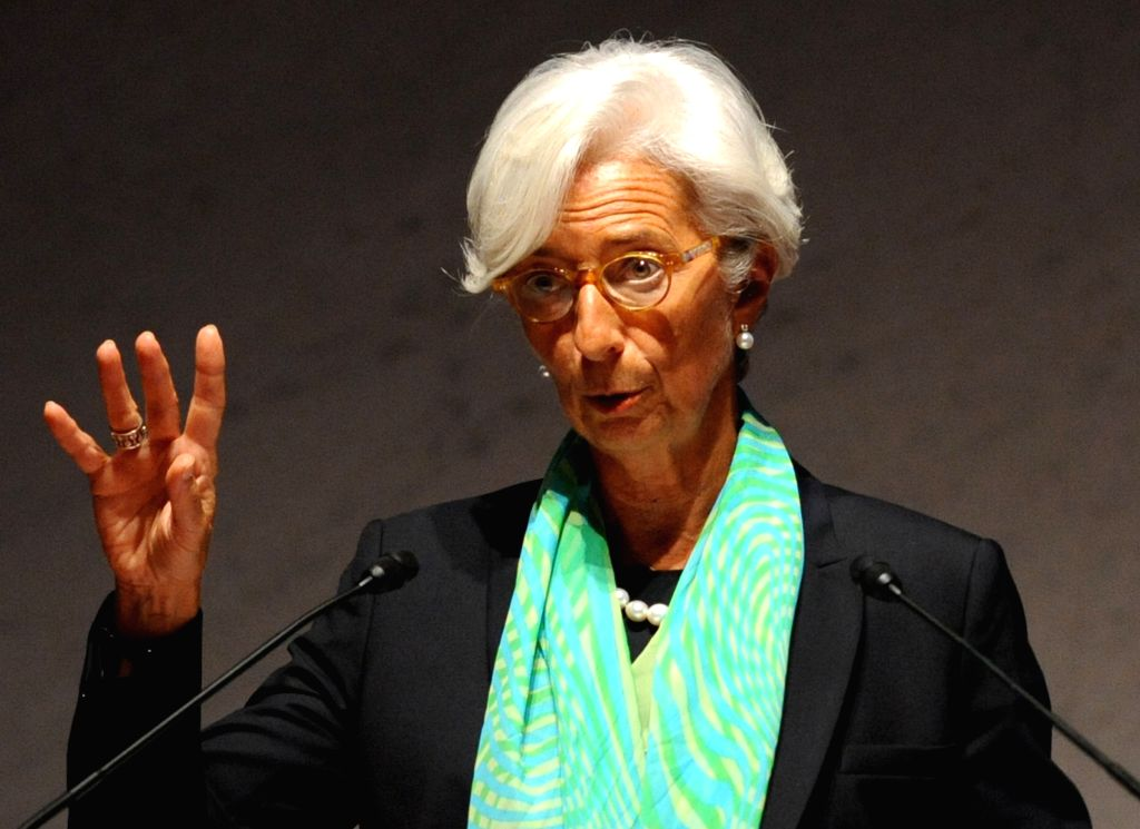 Managing Director of the International Monetary Fund (IMF) Christine Lagarde speaks  during the open forum of the Wourld Assembly for Women in Tokyo (WAW! Tokyo ...