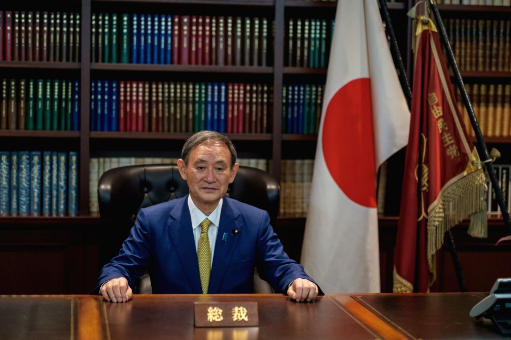 Tokyo, Sept. 14, 2020 (Xinhua) -- Yoshihide Suga, new president of Japan's ruling Liberal Democratic Party (LDP), poses for a portrait picture in Tokyo, Japan on Sept. 14, 2020. Yoshihide Suga was elected as the new president of the ruling LDP on Mon