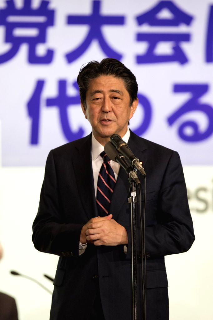 TOKYO, Sept. 20, 2018 - Japanese Prime Minister Shinzo Abe gives a speech after winning a third consecutive term as president of the ruling Liberal Democratic Party (LDP) in Tokyo, Japan, on Sept. ... - Shinzo Abe