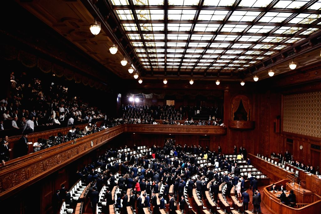 TOKYO, Sept. 28, 2017 - Lawmakers leave after Japanese Prime Minister Shinzo Abe dissolved the House of Representatives in Tokyo, Japan, Sept. 28, 2017. Shinzo Abe on Thursday dissolved the more ... - Shinzo Abe
