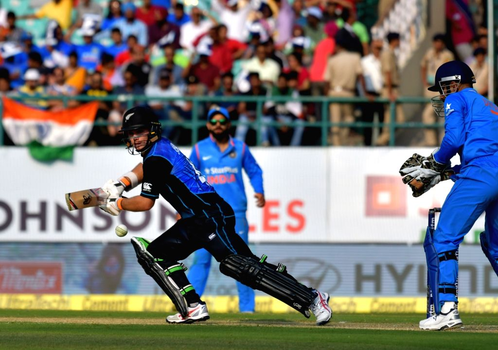 Tom Latham of New Zealand in action during the first One Day International match between India and New Zealand at Himachal Pradesh Cricket Association Stadium in Dharamsala on Oct 16, ...