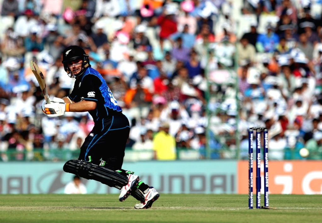 Tom Latham of New Zealand in action during the third ODI match between India and New Zealand at Punjab Cricket Association Stadium, Mohali on Oct 21, 2016.