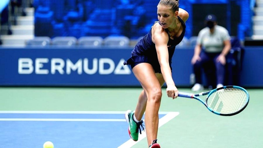 Top seed Karolina Pliskova is in action against Anhelina Kalinina in the first round of the 2020 US Open. (Courtesy of Darren Carroll/USTA/IANS)