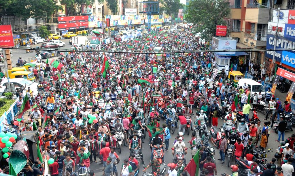 Top view of Mohun Bagan Football Club supporters hold a victory rally from Hotel Hyatt to Mohun Bagan Ground, celebrating their win in the I-League 2019-2020, in Kolkata on October 18, 2020.