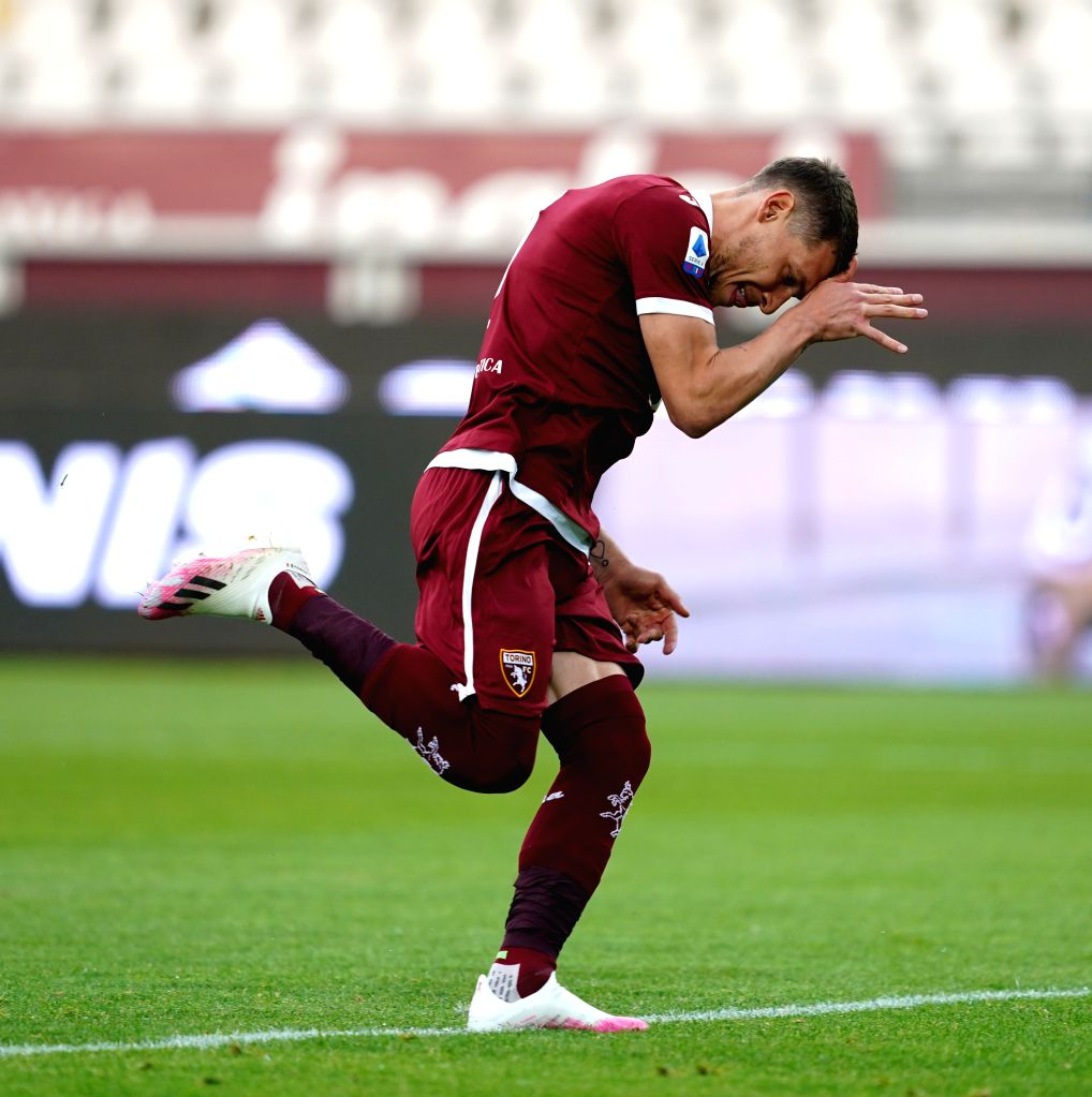 Torino's Andrea Belotti celebrates his goal during a Serie A football match between Torino and Lazio in Turin, Italy, June 30, 2020.