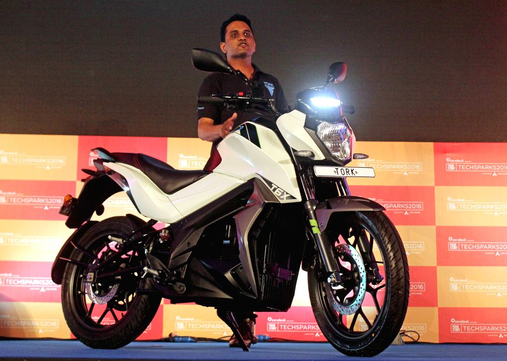 Tork Motorcycles Founder and Director Kapil Shelke during the launch of electric motorcycle Tork T6X in Bengaluru on Sept 30, 2016.