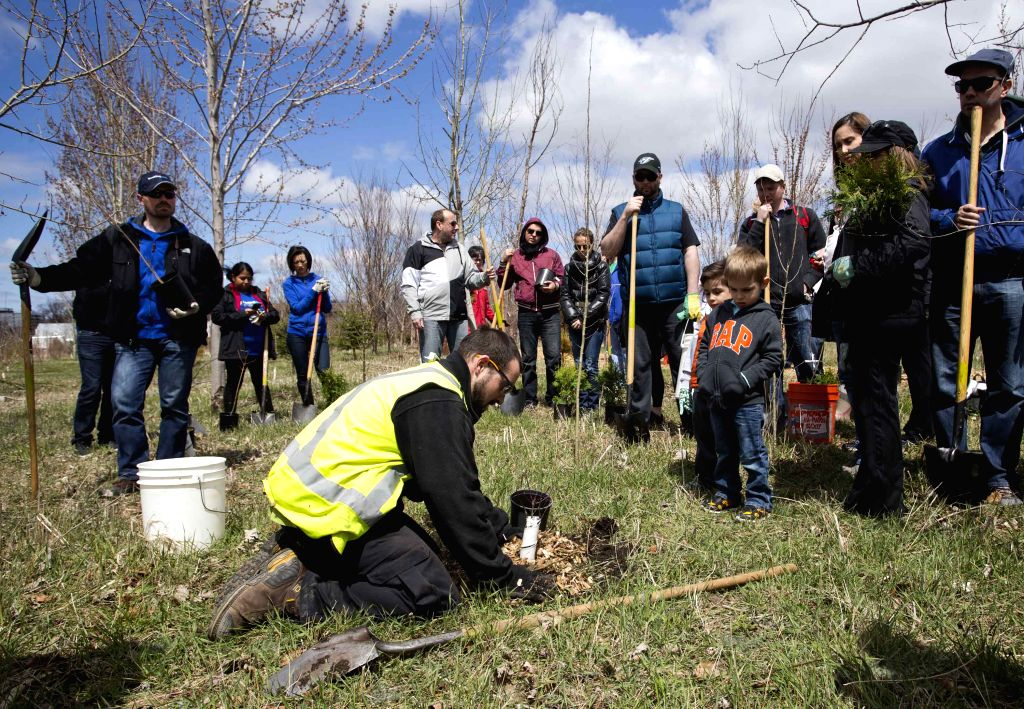 A worker (front) shows how to plant a tree to people during the 2015 Earth Day Tree Planting event at Downsview Park in Toronto, Canada, April 26, 2015. Some parks ...