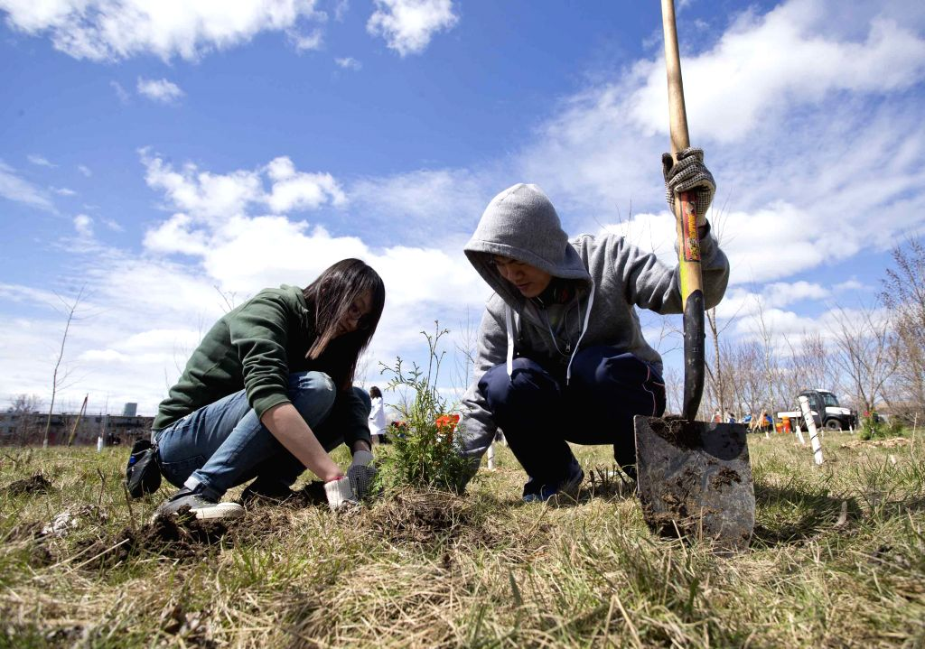People take part in the 2015 Earth Day Tree Planting event at Downsview Park in Toronto, Canada, April 26, 2015. Some parks in Ontario invited people for tree ...