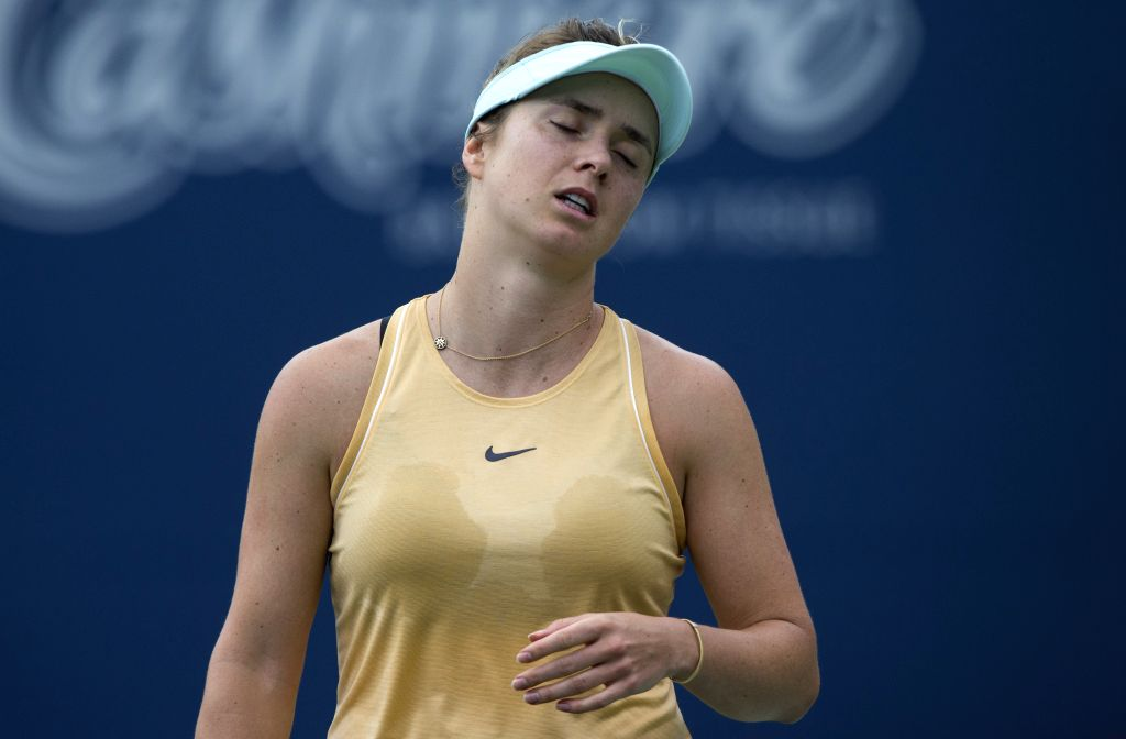 TORONTO, Aug. 10, 2019 - Elina Svitolina of Ukraine reacts during the quarterfinals of women's singles against Sofia Kenin of the United States at the 2019 Rogers Cup in Toronto, Canada, Aug. 9, 2019.