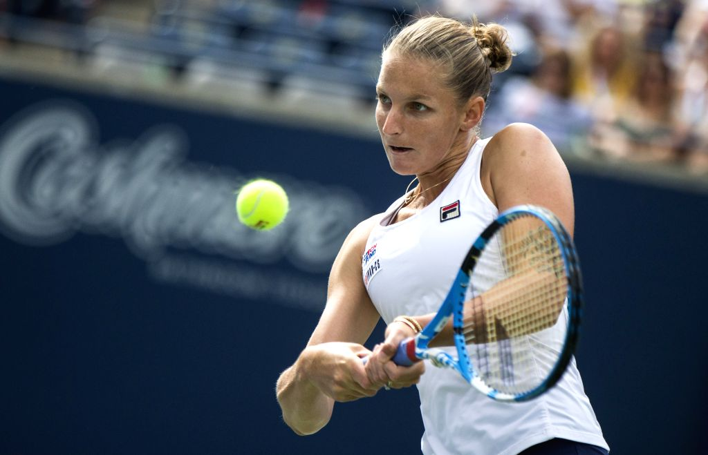 TORONTO, Aug. 10, 2019 - Karolina Pliskova of the Czech Republic returns the ball against Bianca Andreescu of Canada during the quarterfinals of women's singles at the 2019 Rogers Cup in Toronto, ...