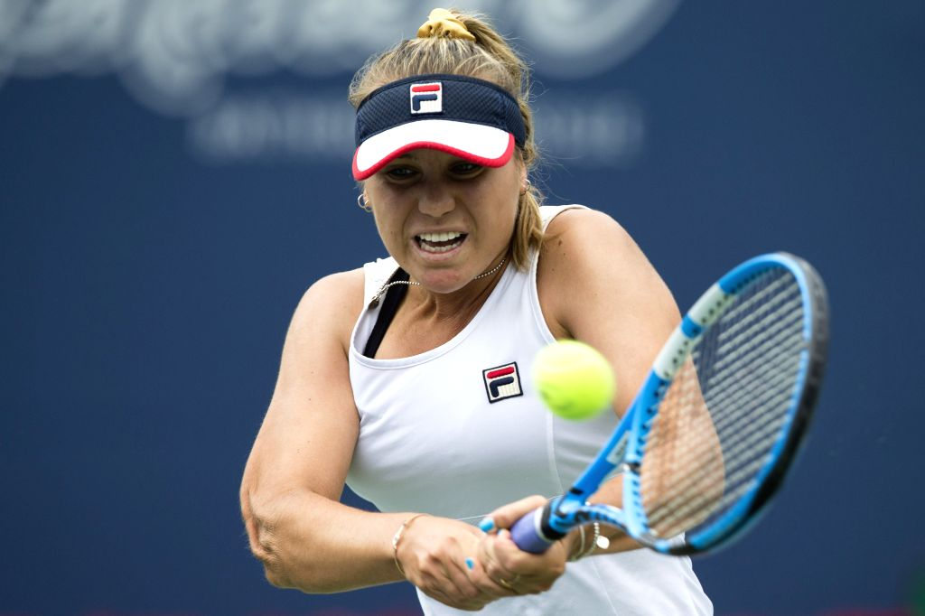 TORONTO, Aug. 10, 2019 - Sofia Kenin of the United States returns the ball against Elina Svitolina of Ukraine during the quarterfinals of women's singles at the 2019 Rogers Cup in Toronto, Canada, ...