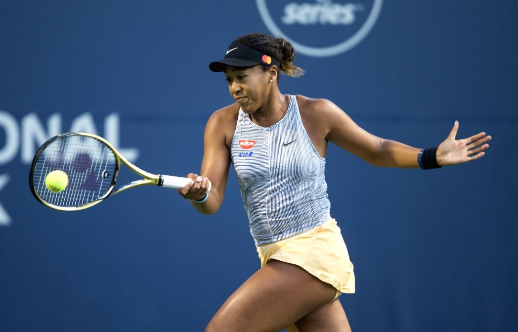 TORONTO, Aug. 10, 2019 (Xinhua) -- Naomi Osaka of Japan returns the ball during the quarterfinals of women's singles match between Serena Williams of the United States and Naomi Osaka of Japan at the 2019 Rogers Cup in Toronto, Canada, Aug. 9, 2019.