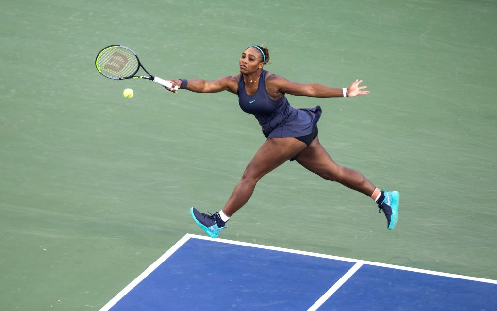 TORONTO, Aug. 10, 2019 (Xinhua) -- Serena Williams of the United States returns the ball during the quarterfinals of women's singles match between Serena Williams of the United States and Naomi Osaka of Japan at the 2019 Rogers Cup in Toronto, Canada