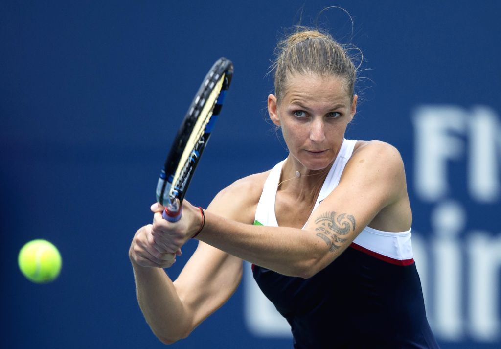 TORONTO, Aug. 11, 2017 - Karolina Pliskova of the Czech Republic returns the ball against Naomi Osaka of Japan during their third round of women's singles match at the 2017 Rogers Cup in Toronto, ...